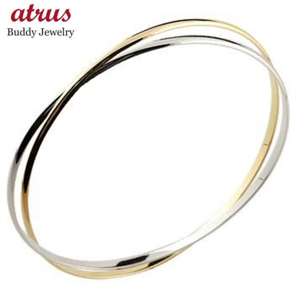 ブレスレット バングル 2連 ホワイトゴールドk18 イエローゴールドk18 地金 シンプル 18金 レディース 送料無料