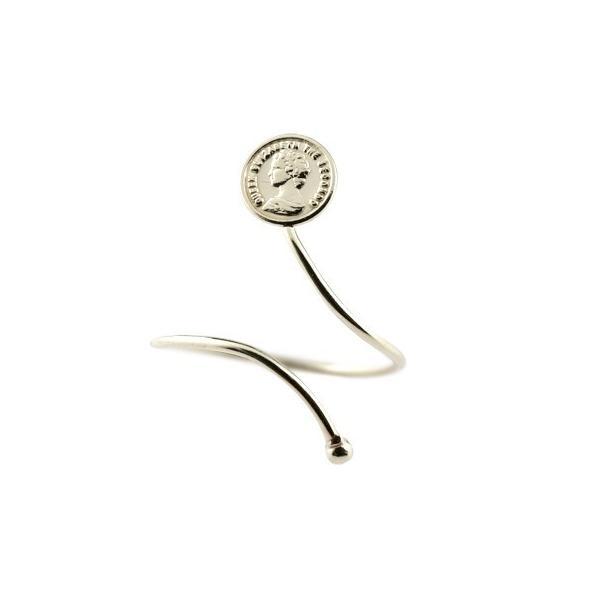 ピンキーリング トゥリング コイン ホワイトゴールドk18 指輪 地金リング 18金 レディース フリーサイズ 送料無料