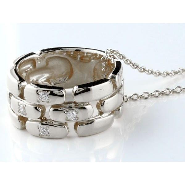 ペアネックレス ダイヤモンド ペンダント ホワイトゴールドk18 ダイヤ リングネックレス 18金 チェーン 人気 ストレート カップル レディース 母の日