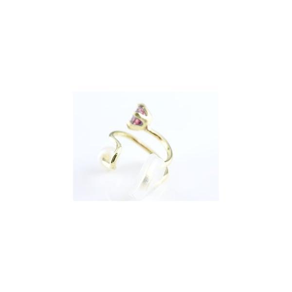 イヤーカフ イヤークリップ 片耳用 ルビー ベビーパール イエローゴールドk18 シリコン付き 18金 レディース 人気 誕生石 一粒 真珠 フォーマル 母の日