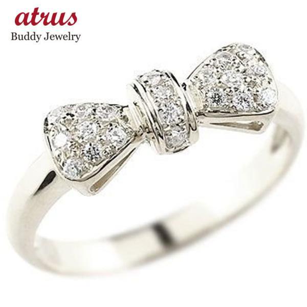 婚約指輪 エンゲージリング リボン リング ダイヤモンド 指輪 ピンキーリング ホワイトゴールドk18 ダイヤ ダイヤモンドリング 18金 人気 レディース  女性