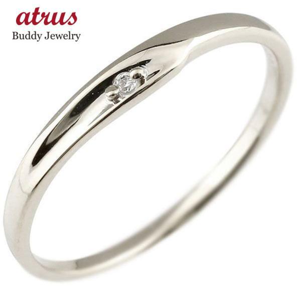 婚約指輪 エンゲージリング ダイヤモンド ピンキーリング ホワイトゴールドk18 一粒 18金 極細 華奢 指輪  プレゼント 女性 ペア 母の日
