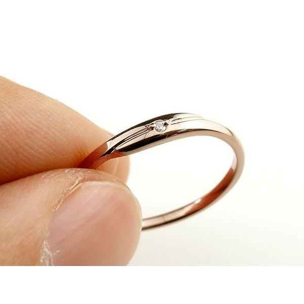 ピンキーリング ダイヤモンド ピンクゴールドk10 一粒 10金 極細 華奢 スパイラル 指輪 母の日