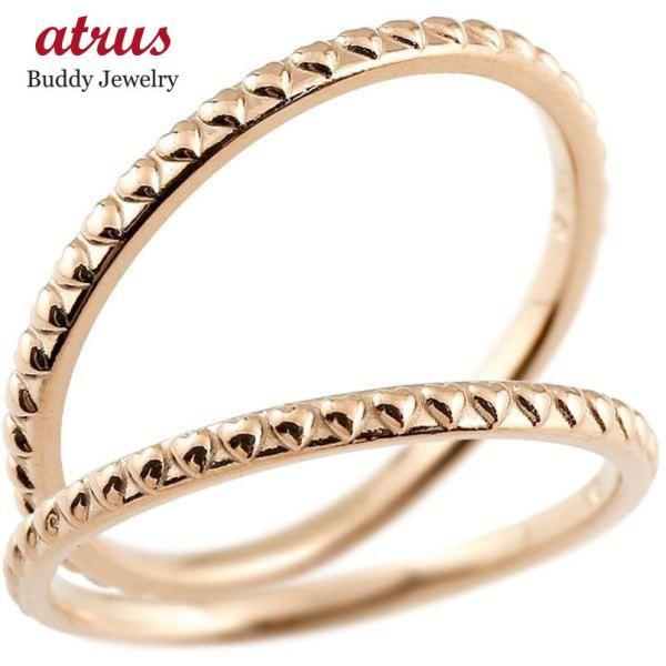 ペアリング 結婚指輪 マリッジリング ハート ピンクゴールドk10 華奢 アンティーク 10金 ストレート スイートペアリィー カップル 母の日