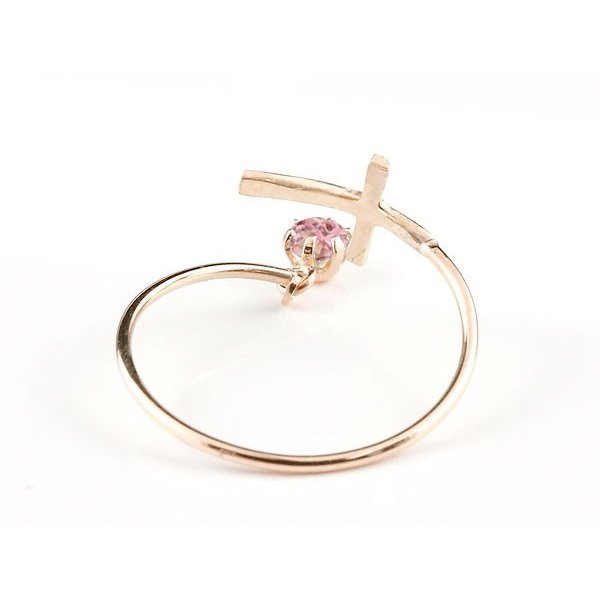 ピンキーリング ファランジリング クロス 十字架 ピンクトルマリン ピンクゴールドk10 ミディリング 関節リング 指輪 10金 レディース ネイルリング 宝石 母の日
