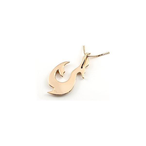 フィッシュフック ネックレス ホエールテール 釣針 ペンダント ピンクゴールドk18 マリン系 地金 シンプル 18金 チェーン 人気 レディース 母の日