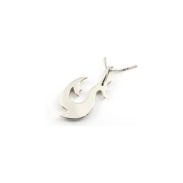 フィッシュフック ネックレス ホエールテール 釣針 ペンダント ホワイトゴールドk18 マリン系 地金 シンプル 18金 チェーン 人気 レディース 母の日
