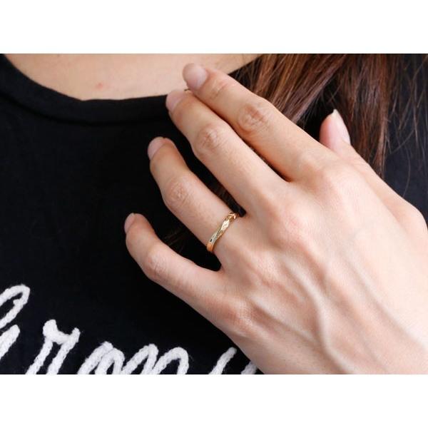 ハワイアンジュエリー 結婚指輪 ペアリング マリッジリング イエローゴールドk18 ハワイアンリング V字 地金 k18 カップル メンズ レディース