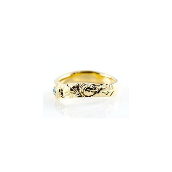 ピンキーリング ハワイアンジュエリー ブルートパーズ イエローゴールドk18リング 指輪 ハワイアンリング スパイラル k18 レディース 11月誕生石 宝石 母の日