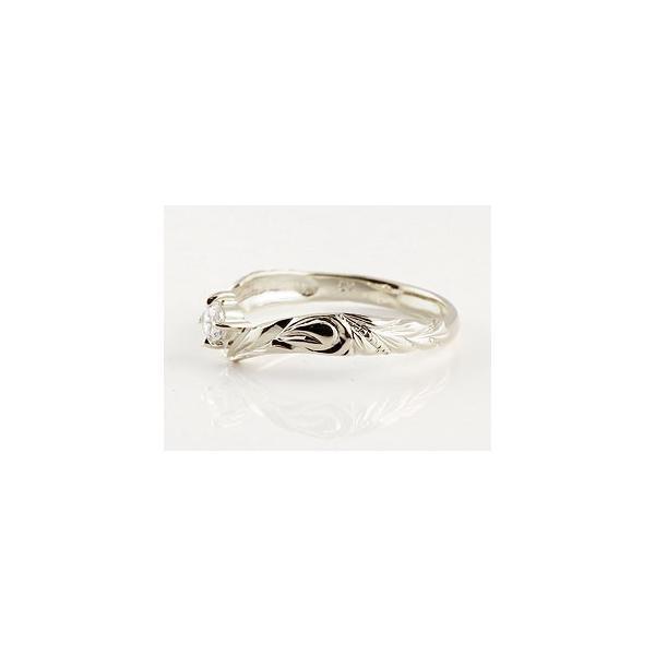 ハワイアンジュエリー シルバー ペアリング スワロフスキーキュービックジルコニア 結婚指輪 マリッジリング ハワイアンリング V字 カップル 母の日