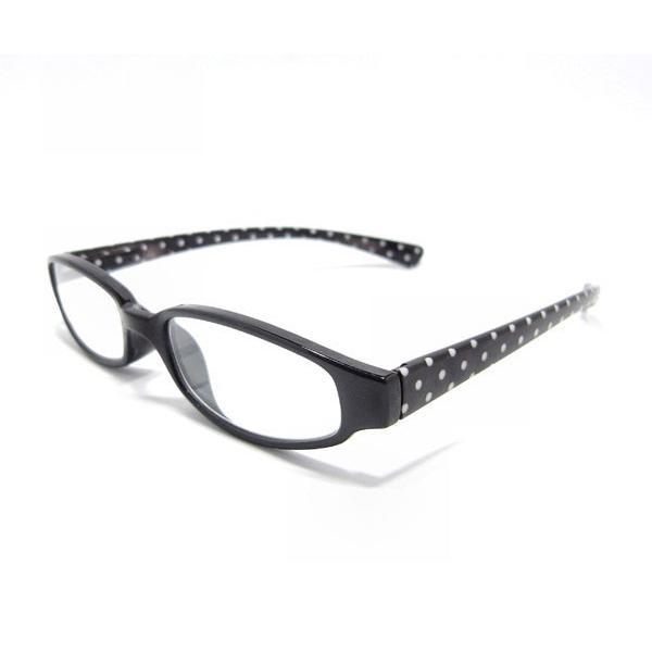 メガネ Bayline ベイライン リーディンググラス 老眼鏡 レディース ミセス +1.50 拡大鏡 作業用 ブラック 水玉 スタンダード ドット女性用 めがね
