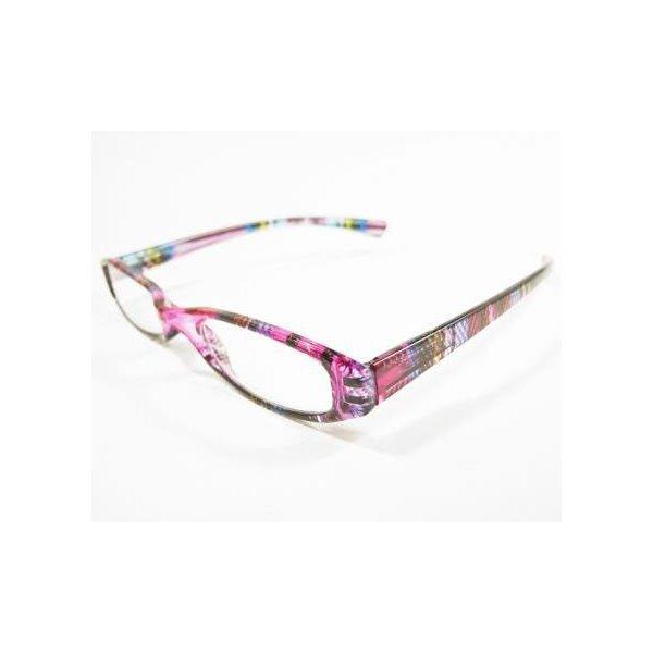 メガネ Bayline ベイライン リーディンググラス 老眼鏡 レディース ミセス +1.50 拡大鏡 スタンダード スリム クリアタータンチェック ピンク 女性用 めがね