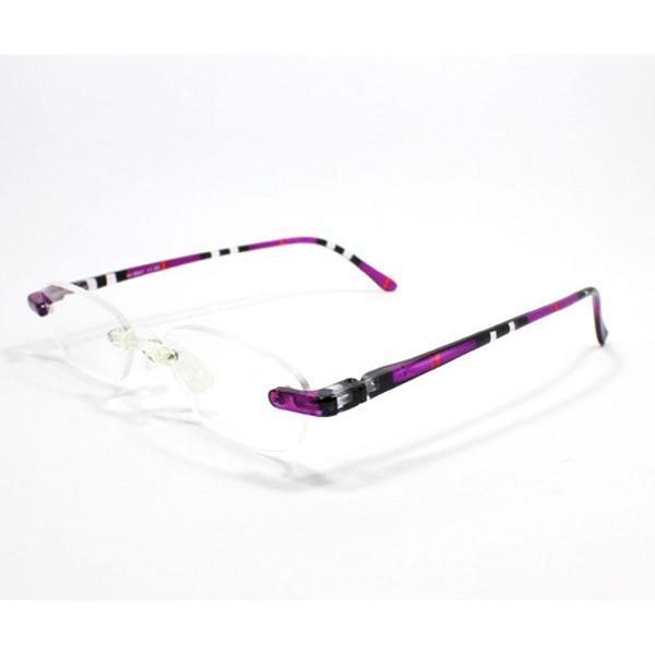 メガネ Bayline ベイライン リーディンググラス 老眼鏡 レディース ミセス +1.50 拡大鏡 作業用 ノンフレーム クリアノーズ ストライプ パープル 女性用 めがね