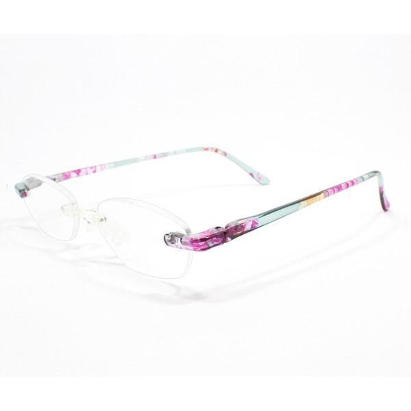 メガネ Bayline ベイライン リーディンググラス 老眼鏡 レディース ミセス +2.50 拡大鏡 ノンフレーム スクエア ラインストーン クリアフラワー 女性用 めがね