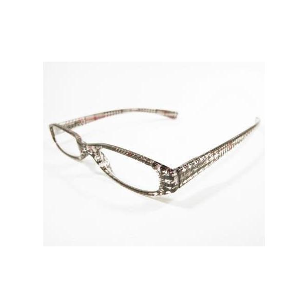 メガネ Bayline ベイライン リーディンググラス 老眼鏡 レディース ミセス +2.00 拡大鏡 スタンダード スリム クリアグレンチェック グレー 女性用 めがね