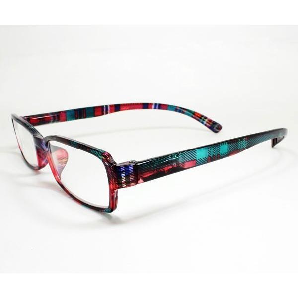 メガネ Bayline ベイライン リーディンググラス ネックリーダー 老眼鏡 レディース ミセス +2.50 拡大鏡 スタンダード クリアチェック レッド 女性用 めがね