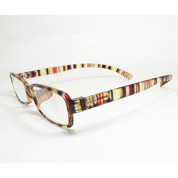 メガネ Bayline ベイライン リーディンググラス ネックリーダー 老眼鏡 レディース ミセス +2.00 拡大鏡 クリアストライプ イエローマルチ 女性用 めがね