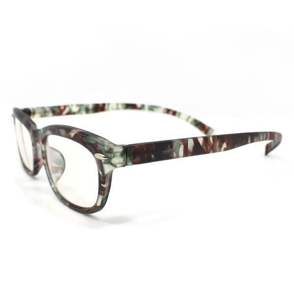 メガネ Bayline ベイライン リーディンググラス ネックリーダー 老眼鏡 レディース ミセス +2.00 拡大鏡 作業用 ウェリントン カモフラージュ 女性用 めがね