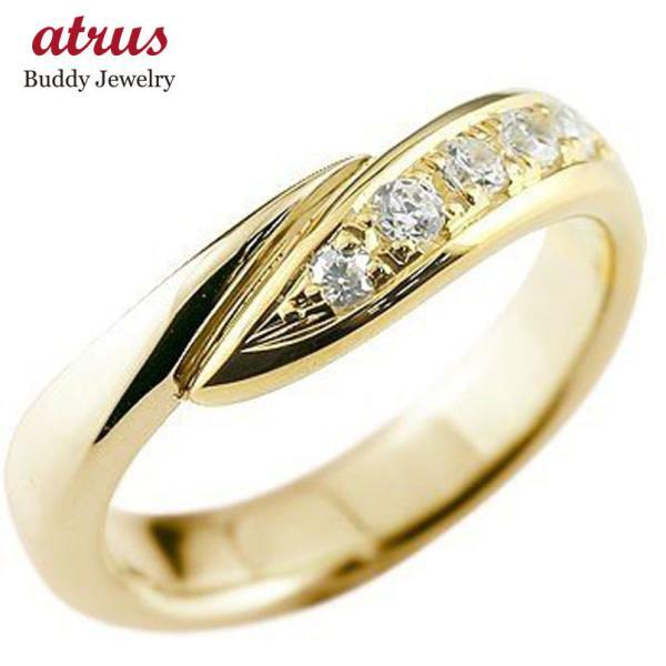 ピンキーリング ダイヤモンド リング 指輪 ダイヤ ダイヤモンドリング イエローゴールドk18 18k スパイラル ウェーブリング 18金 レディース 送料無料