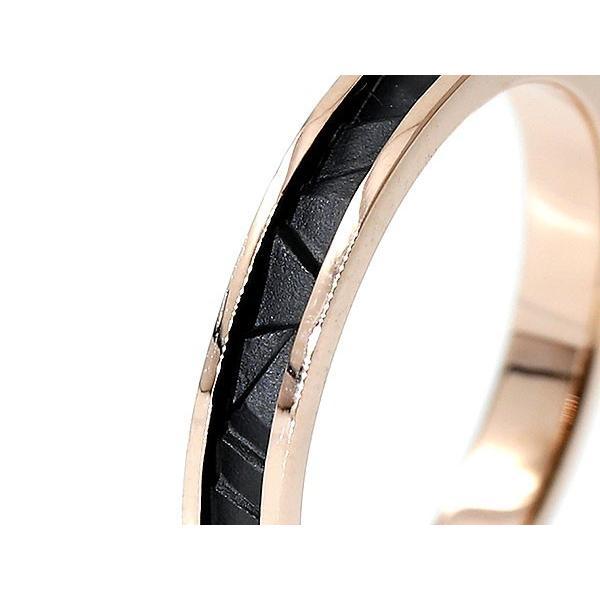 指輪 ピンクゴールドk10 リング ピンキーリング 地金リング 10金 ブラックメッキ つや消し シンプル 宝石なし レディース ストレート 母の日