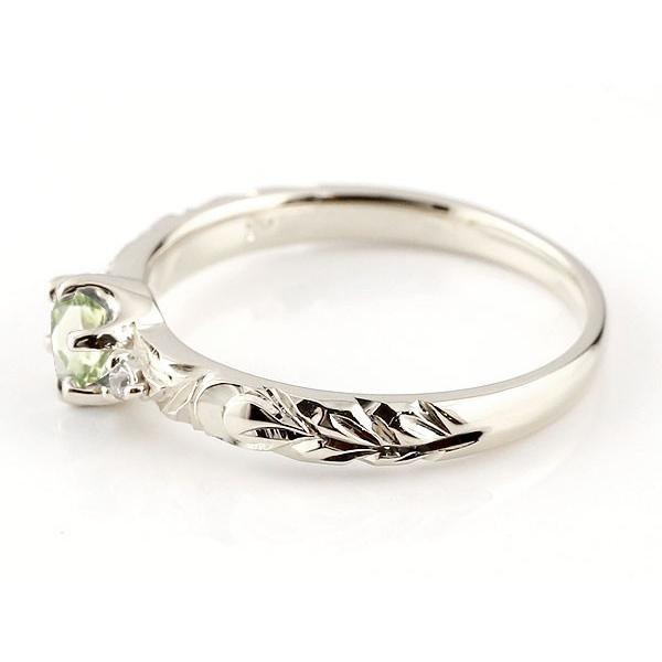 ピンキーリング ハワイアンジュエリー ペリドット リング 一粒 大粒 指輪 8月誕生石 ホワイトゴールドk10 ハワイアンリング 10金 k10wg ダイヤ ストレート