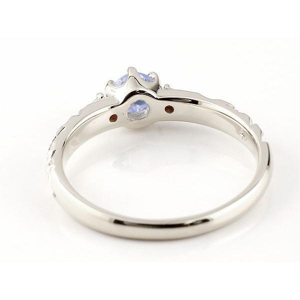 ピンキーリング ハワイアンジュエリー タンザナイト リング 一粒 大粒 指輪 12月誕生石 ホワイトゴールドk18 ハワイアンリング 18金 k18wg ダイヤ ストレート