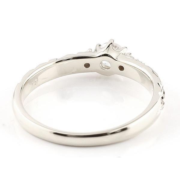 鑑定書付き 婚約指輪  エンゲージリング ハワイアンジュエリー VVS 一粒 ホワイトゴールドk10 10金 k10wg ストレート  プレゼント 女性 ペア 母の日