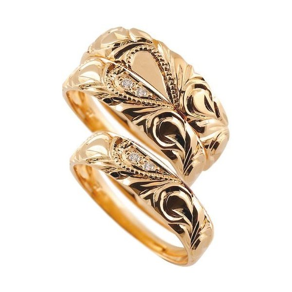 マリッジリング ハワイアンジュエリー ピンクゴールドk18 ダイヤモンド 結婚指輪 ペアリング ハート ミル打ち 18金 ダイヤ ストレート トラスリング 3本セット