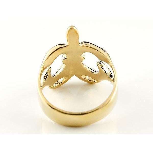 メンズ ペアリング ユリの紋章 幅広 指輪 イエローゴールドk18 18金 男性用 リング 地金リング トラスト フルール・ド・リス  プレゼント 女性