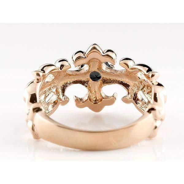 メンズ ペアリング ブラックダイヤモンド クロス ダイヤ 幅広 指輪 ピンクゴールドk18 18金 男性用 リング 地金リング トラスト  女性