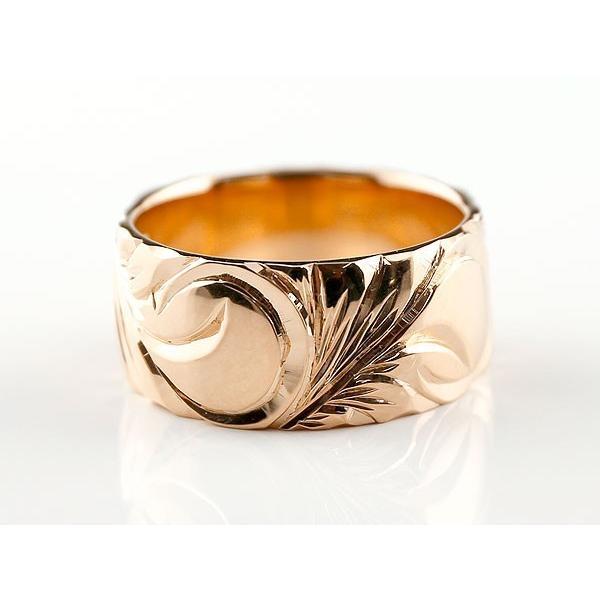 結婚指輪 ペアリング ハワイアンジュエリー ピンクゴールドリング 幅広 指輪 ハワイアンリング 地金リング マイレ スクロール ストレート  女性 母の日