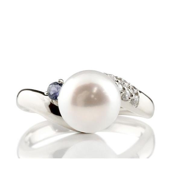 パールリング 真珠 フォーマル エンゲージリング 婚約指輪 10金  アイオライト ホワイトゴールドk10 リング ダイヤモンド ダイヤ 指輪 10金 宝石 母の日