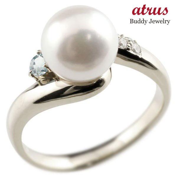 パールリング 真珠 フォーマル エンゲージリング 婚約指輪 10金  アクアマリン ホワイトゴールドk10 リング キュービックジルコニア キュービック 指輪 10金