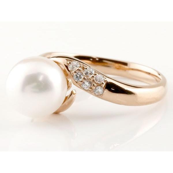 パールリング 真珠 フォーマル エンゲージリング 婚約指輪 10金  ブルームーンストーン ピンクゴールドk10 リング キュービックジルコニア 指輪 10金  女性