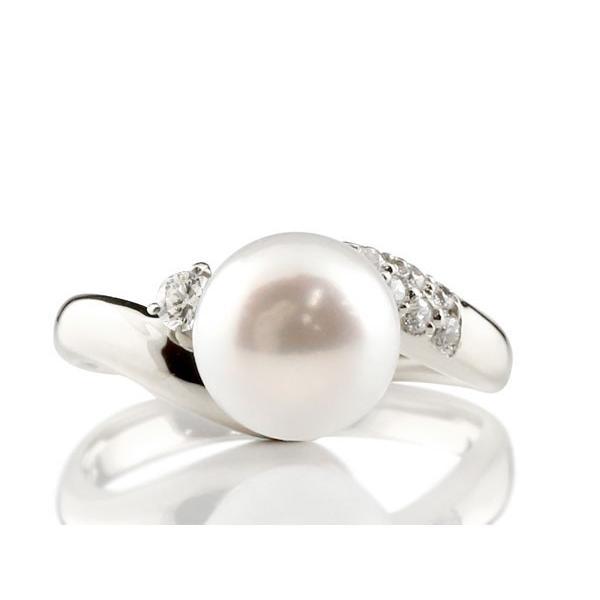 パールリング 真珠 フォーマル エンゲージリング 婚約指輪 18金  キュービックジルコニア ホワイトゴールドk18 リング  キュービック 指輪 18金 母の日