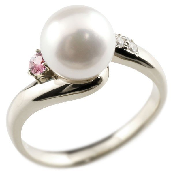 婚約指輪 安い パールリング 真珠 フォーマル エンゲージリング  ピンクトルマリン プラチナ900 リング キュービックジルコニア キュービック 指輪 宝石 母の日