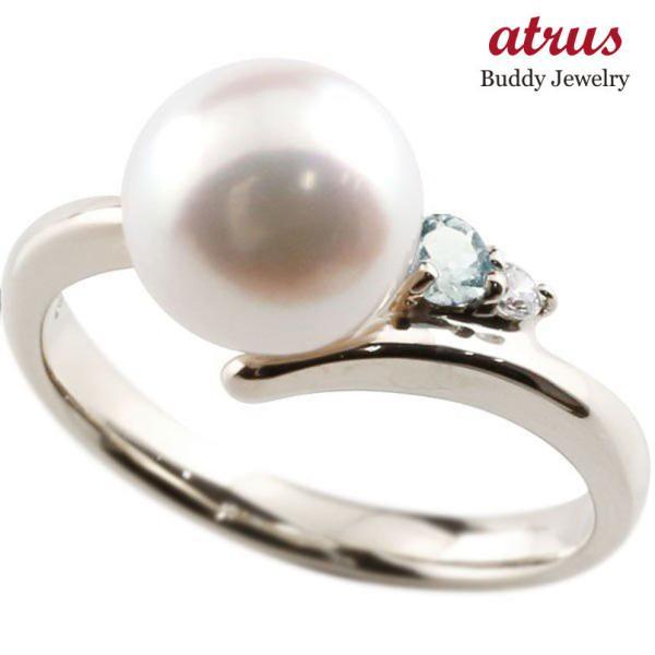 プラチナリング 安い パール 真珠 pt900 レディース アクアマリン フォーマル ダイヤ 指輪 リング シンプル ダイヤモンド ピンキーリング 宝石 送料無料