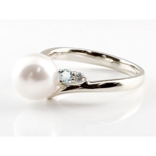 パールリング 真珠 フォーマル エンゲージリング 婚約指輪  アクアマリン シルバー925 リング ダイヤモンド ダイヤ 指輪 宝石  プレゼント 女性 母の日
