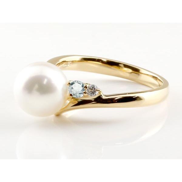 パールリング 真珠 フォーマル エンゲージリング 婚約指輪 10金  アクアマリン イエローゴールドk10 リング ダイヤモンド ダイヤ 指輪 10金 宝石 母の日