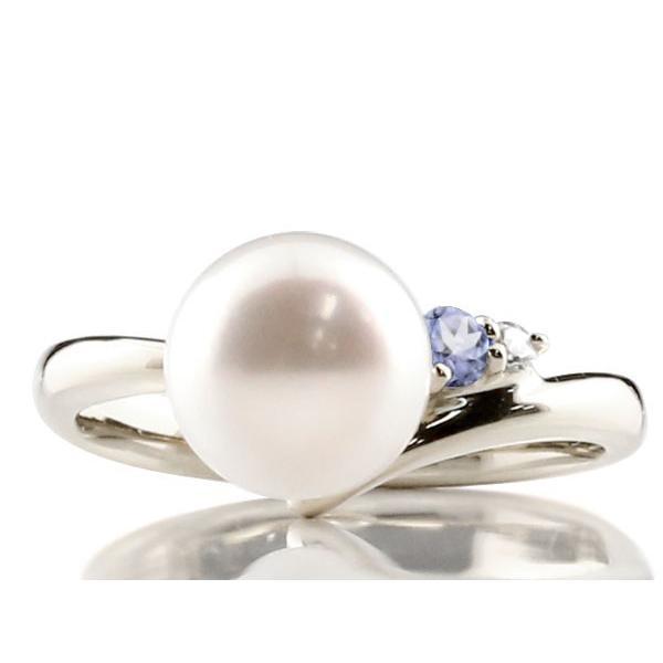 パールリング 真珠 フォーマル エンゲージリング 婚約指輪  タンザナイト シルバー925 リング ダイヤモンド ダイヤ 指輪 宝石  プレゼント 女性 母の日