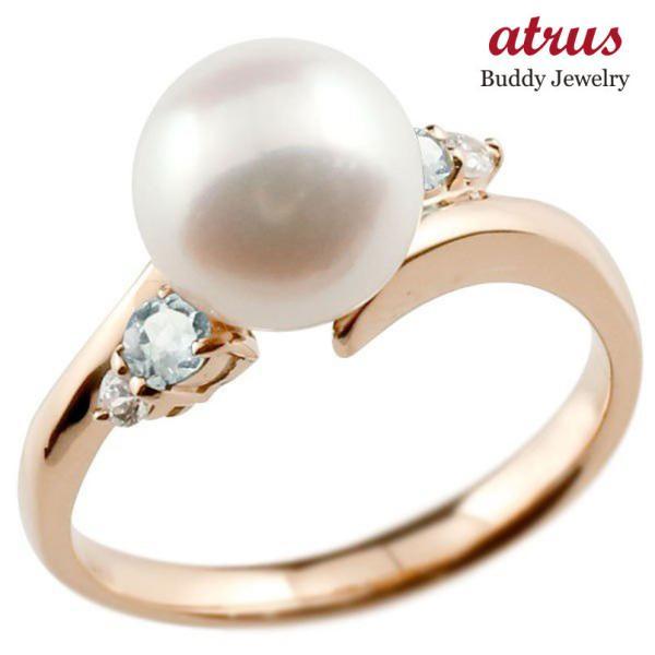 パールリング 真珠 フォーマル  アクアマリン ピンクゴールドk18 リング ダイヤモンド ピンキーリング ダイヤ 指輪 18金 スパイラル 宝石 母の日