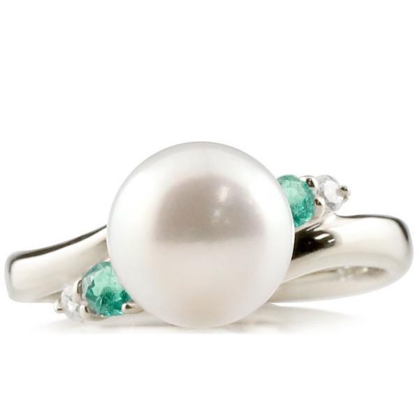 婚約指輪 安い パールリング 真珠 フォーマル エンゲージリング 婚約指輪  エメラルド プラチナ900 リング ダイヤモンド ダイヤ 指輪 スパイラル 宝石  女性