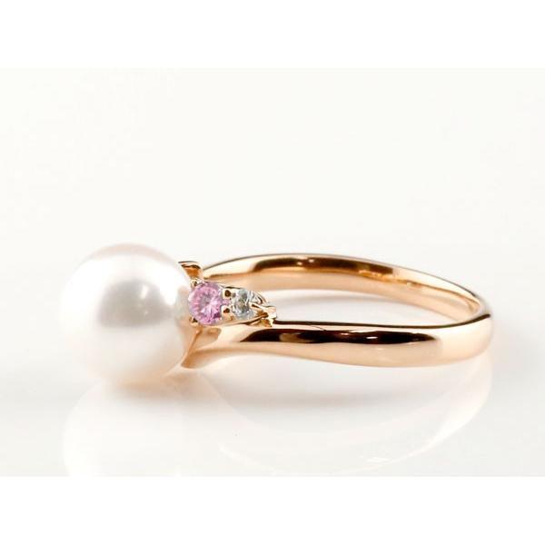 パールリング 真珠 フォーマル エンゲージリング 婚約指輪 10金  ピンクサファイア ピンクゴールドk10 リング ダイヤモンド ダイヤ 指輪 10金 スパイラル 宝石