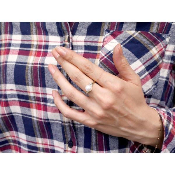 パールリング 真珠 フォーマル  ペリドット ホワイトゴールドk18 リング ダイヤモンド ピンキーリング ダイヤ 指輪 18金 スパイラル 宝石 母の日