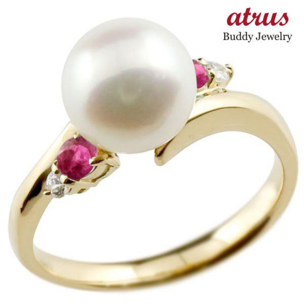 パールリング 真珠 フォーマル エンゲージリング 婚約指輪 10金  ルビー イエローゴールドk10 リング ダイヤモンド ダイヤ 指輪 10金 スパイラル 宝石  女性