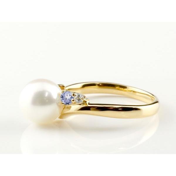 パールリング 真珠 フォーマル エンゲージリング 婚約指輪 18金  タンザナイト イエローゴールドk18 リング ダイヤモンド ダイヤ 指輪 18金 スパイラル 宝石