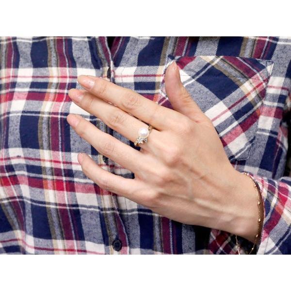 パールリング 真珠 フォーマル 星 スター キュービックジルコニア プラチナ900 リング ピンキーリング キュービック 指輪 スパイラル 母の日
