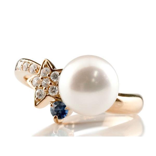 パールリング 真珠 フォーマル  星 スター サファイア ピンクゴールドk10 リング ダイヤモンド ピンキーリング ダイヤ 指輪 10金 スパイラル 母の日