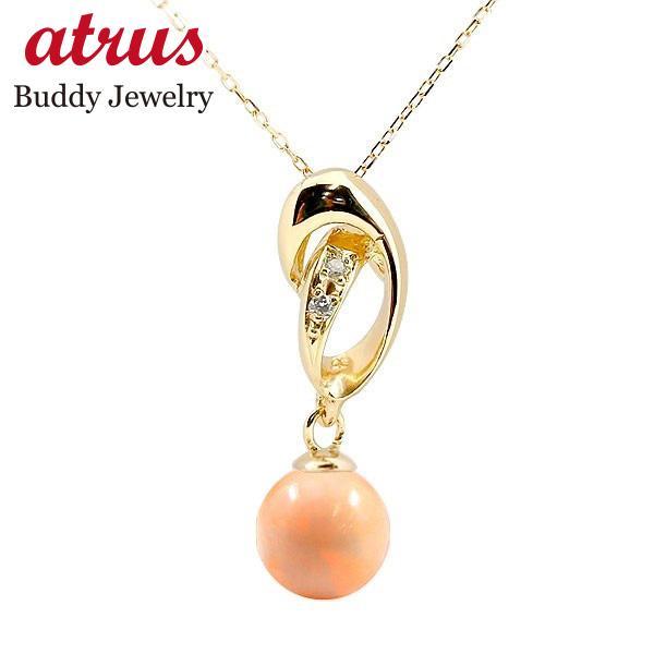 珊瑚 コーラル サンゴ ネックレス イエローゴールドk18 ダイヤモンド ペンダント チェーン 人気 3月誕生石 18金 レディース 母の日