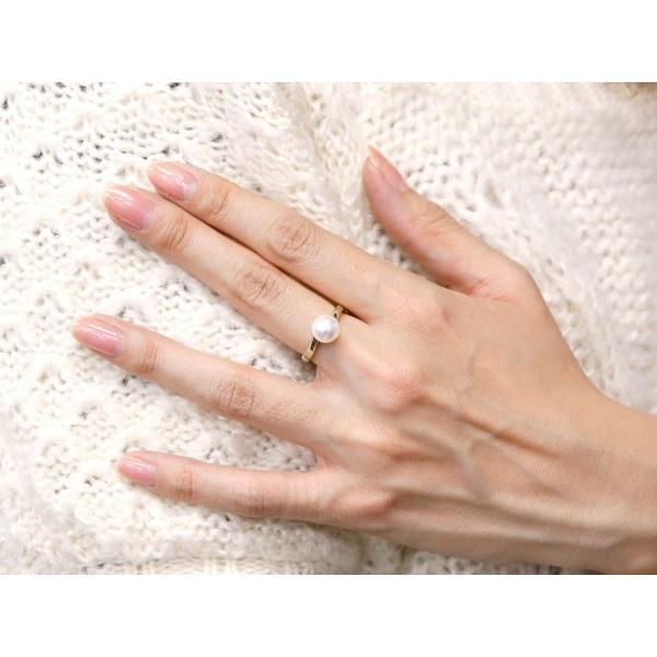 パールリング 真珠 フォーマル  プラチナリング リング ピンキーリング 指輪 pt900 ストレート 母の日